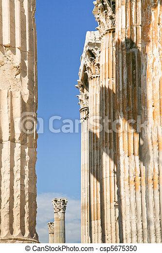 corintio, Columnas, templo, zeus, atenas - csp5675350