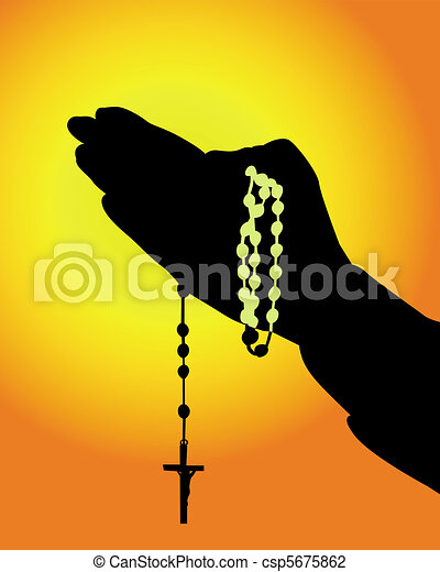 silhouette of hands with a rosary  - csp5675862