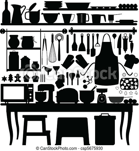 Baking Equipment Drawing a Big Set of Bakery Tools And