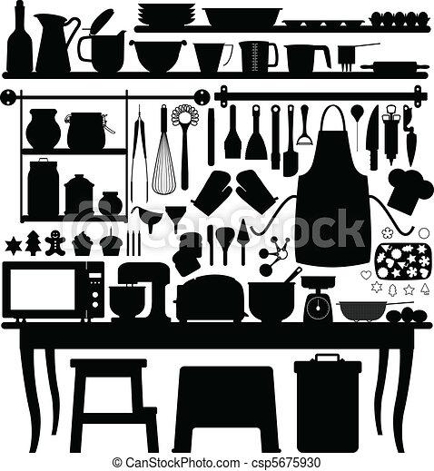 bakken, gebakje, keuken, werktuig - csp5675930