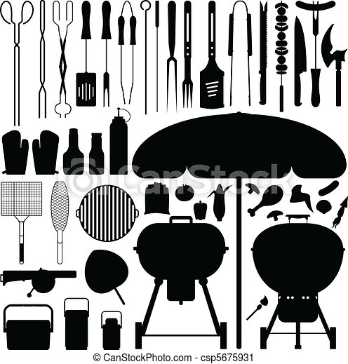 BBQ Barbecue Set Silhouette Vector - csp5675931