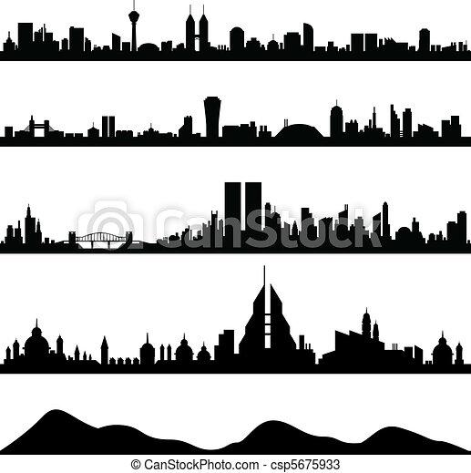 City Skyline Cityscape Vector - csp5675933
