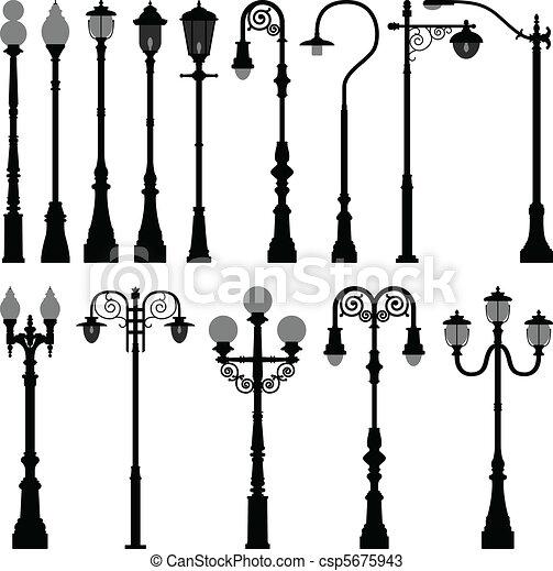ライト, ランプ, 通り, 街灯柱, ポスト - csp5675943
