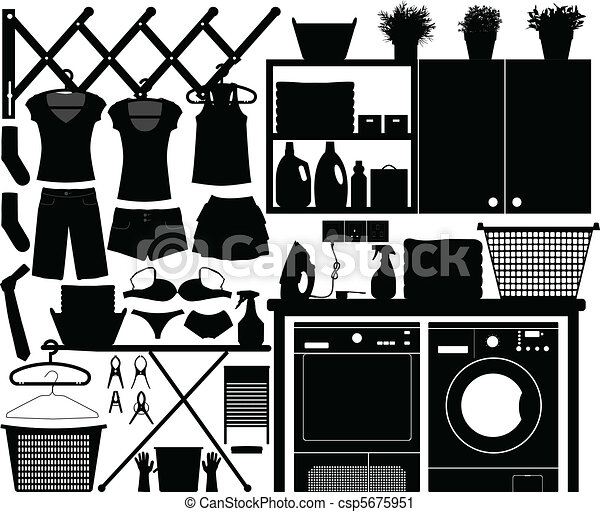 Laundry Design Set Vector - csp5675951