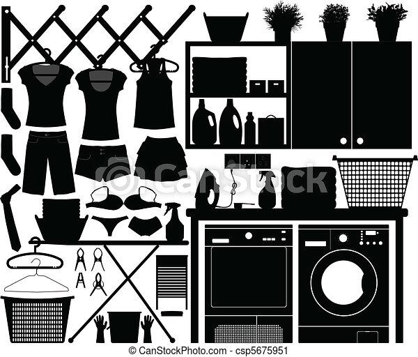 Laundry Design Set Vector - csp5675951