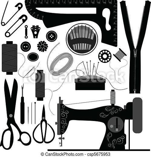 Sewing Tailor Retro Black - csp5675953