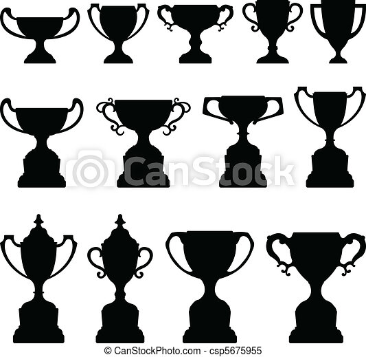 Trophy Cup Silhouette Black Set - csp5675955