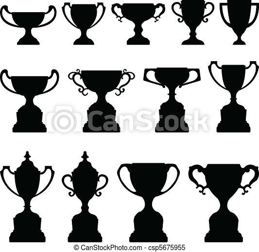 Trophy Cup Silhouette Black Set - csp5675955