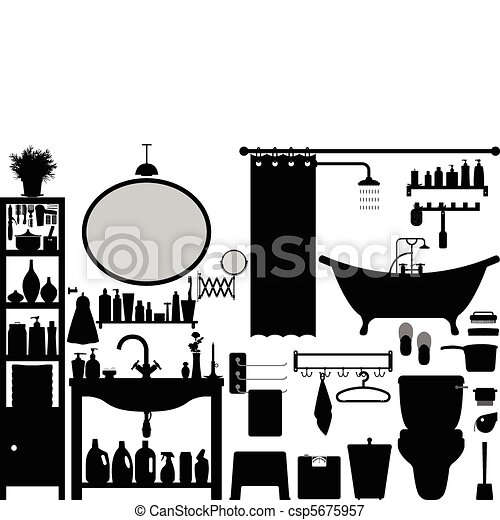 Bathroom Toilet Design Set Vector - csp5675957