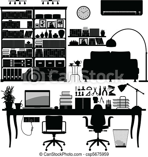Home Office Library SOHO Vector - csp5675959