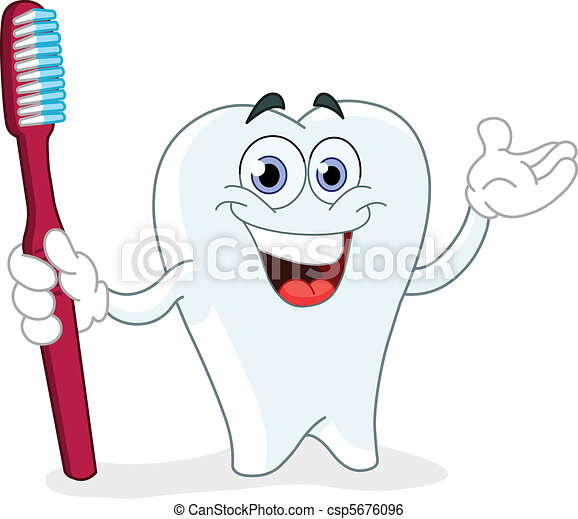 Cartoon tooth with toothbrush - csp5676096