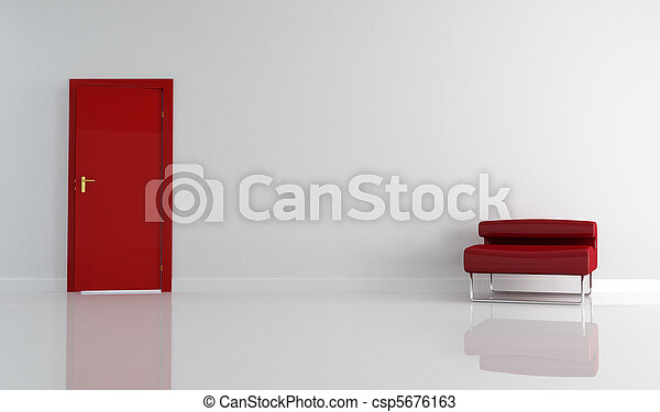 red door and modern armchair - csp5676163