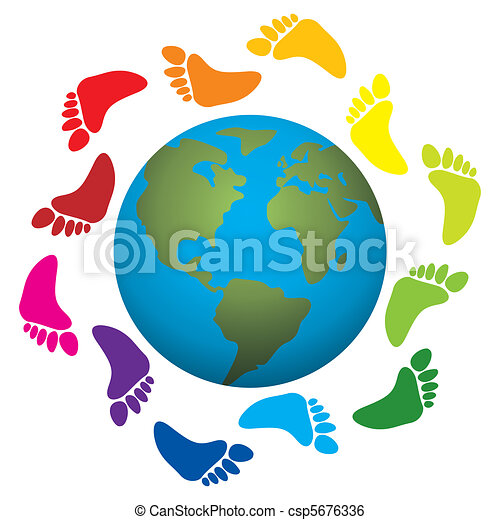 foot prints around the earth - csp5676336