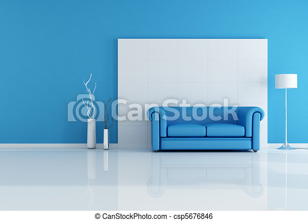 white and blue living room - csp5676846