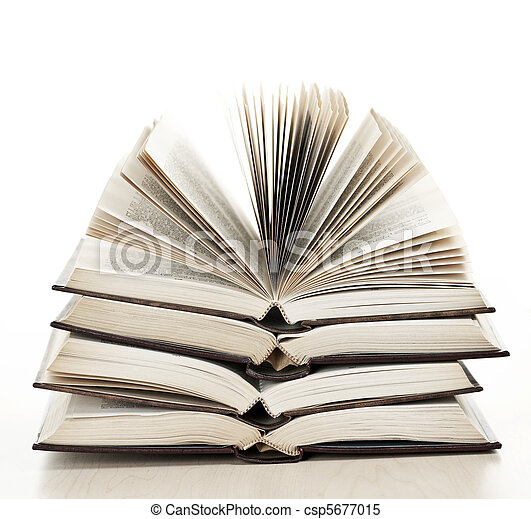 Stack of open books - csp5677015