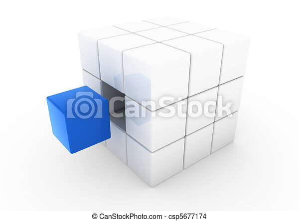 3d business cube blue white - csp5677174