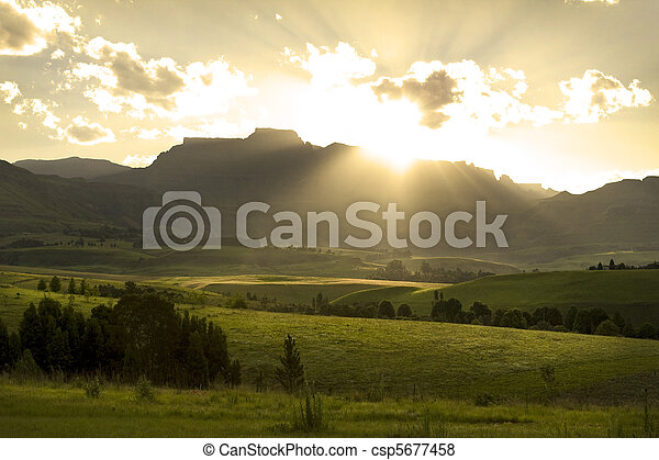 Mountains,  över,  Drakensberg, solnedgång - csp5677458