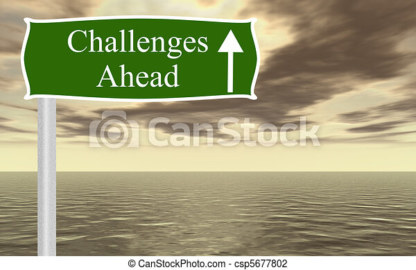 Challenges ahead freeway sign - csp5677802