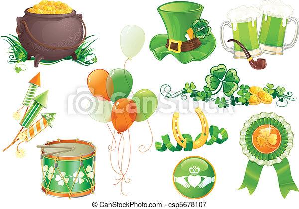 Illustrazioni vettoriali di st patricks day symbols - Immagini di st patrick day ...