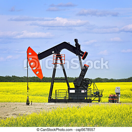 Nodding oil pump in prairies - csp5678557