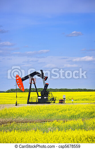 Nodding oil pump in prairies - csp5678559
