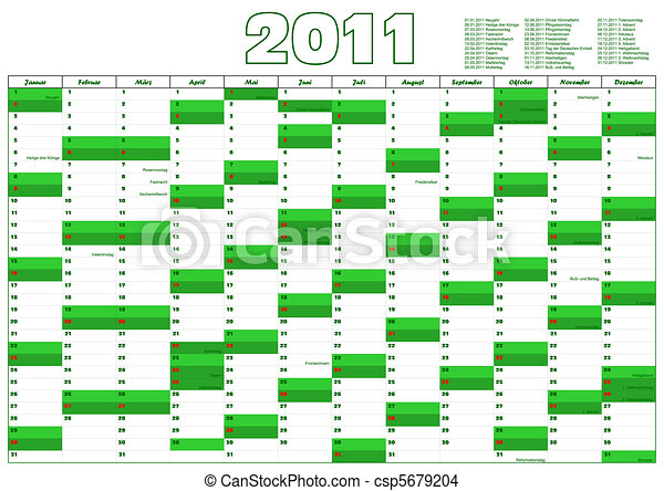 calendar for 2012 in German with official holidays - csp5679204