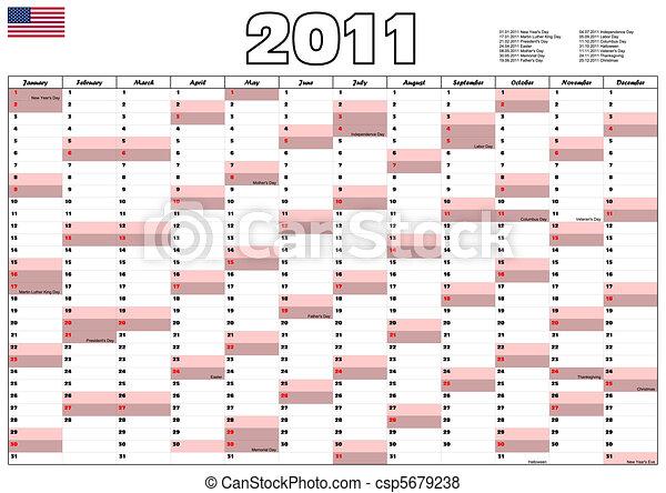 2011 Calendar with USA official holidays - csp5679238
