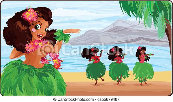 Hula dancer in Hawaii - csp5679487