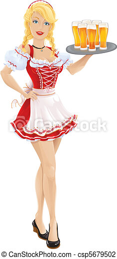 Oktoberfest girl with tray of beer - csp5679502