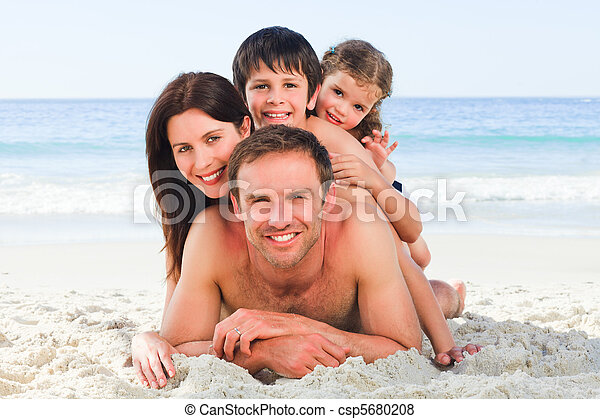 Family on the beach - csp5680208