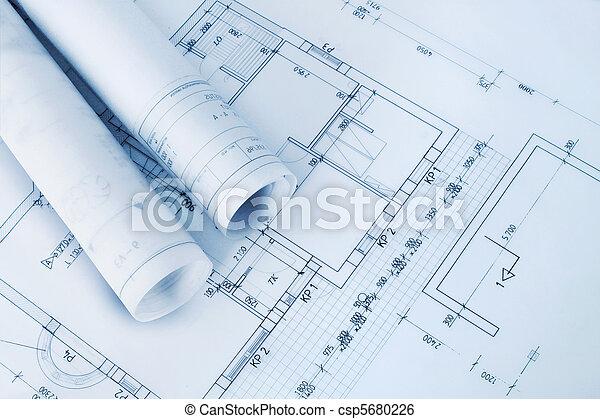 Blåkopior, konstruktion,  plan - csp5680226