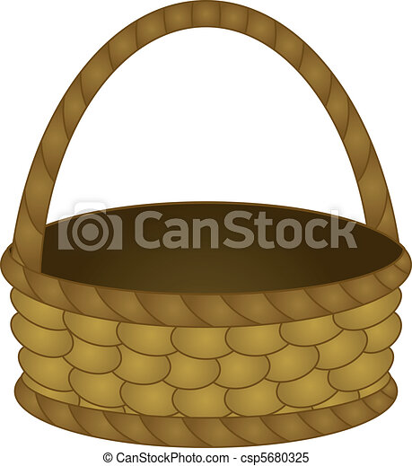 Clipart vector of wattled basket old fashioned wattled country basket with - Diametre panier basket ...