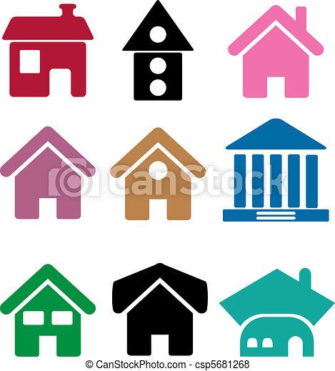 Vector de simple, Casas, colorido - colorido, simple, cima, Casas ...