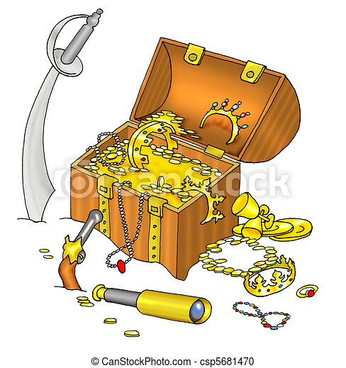 Stock Illustration of Pirate's treasure chest and cutlass ...