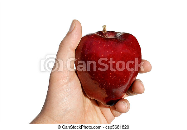 Apple in Hand Isolated Against White - csp5681820
