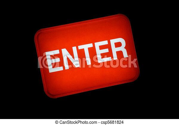 Backlit Enter Button Sign - csp5681824