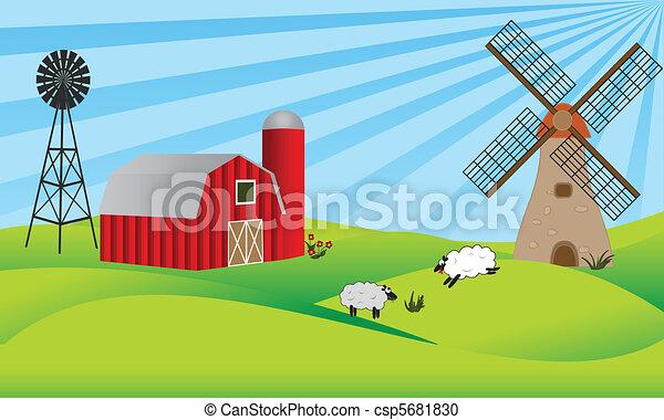 Farm Barn Drawing vector clipart of farmland with barn and windmill - farmland with