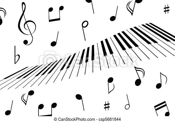 Music notes and piano keys - csp5681844