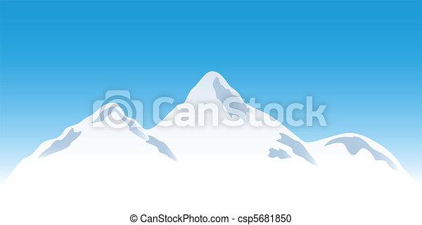 Snowy mountain peaks - csp5681850