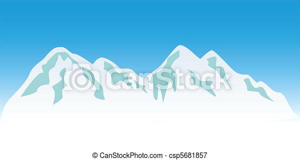 Snowy mountain peaks - csp5681857