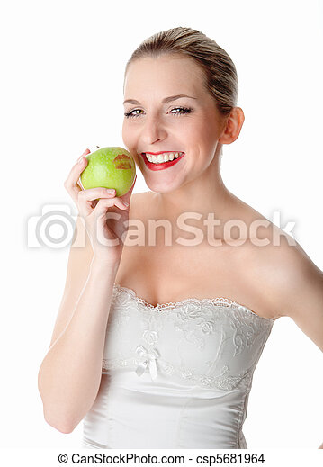 Vegetarian with an apple - csp5681964
