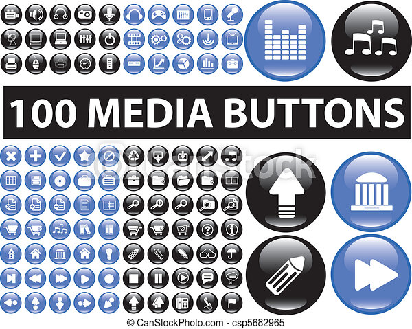 100 media buttons - csp5682965