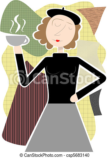 Beatnik woman holding coffee cup ab - csp5683140