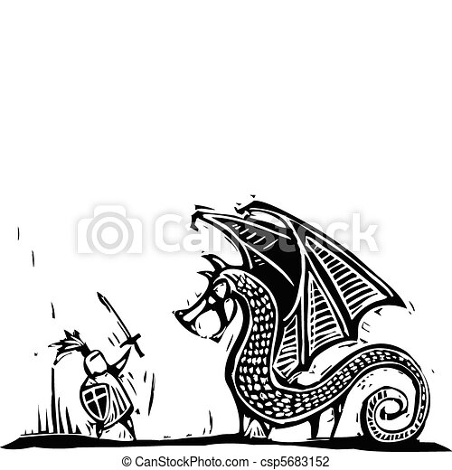 Knight and Dragon - csp5683152