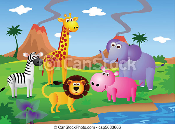 animal cartoon in the wild - csp5683666