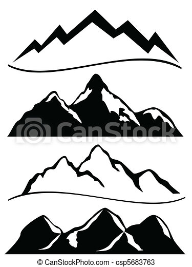 vectors of various mountains in black and white csp5683763