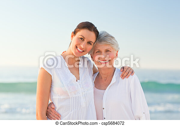 Smiling daughter with her mother - csp5684072