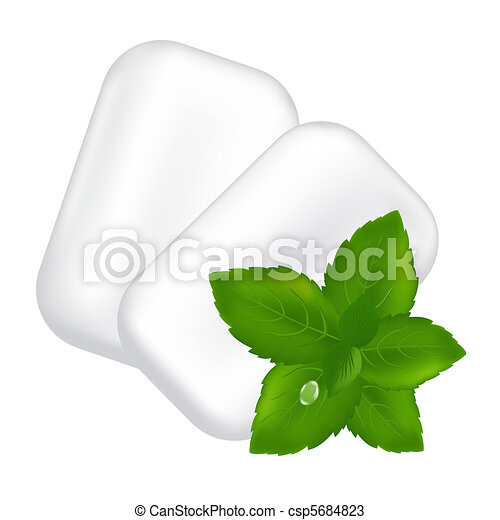 Chewing Gum And Fresh Mint Leaves - csp5684823