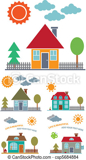 4 family houses - csp5684884