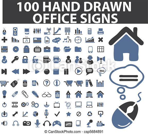 100 simple hand drawn signs - csp5684891